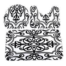 black and white bathroom rug toilet mat seat cover bathroom non slip contour rug set black white mix bath black and white damask bath rug