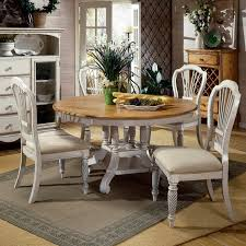 kitchen dining room decorating ideas using round light grey and brown pedestal pine kitchen table