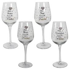 mad dots boxed wine glass wording diamante heart mum nan sister grandma