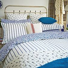 nautical themed bedding by joules sea ditsy nautical print reverse creme blue striped pattern sea ditsy towels joules pillowcase range