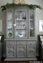 grey painted furniturePainting Furniture With Latex Paint  Grey Tweed Hutch
