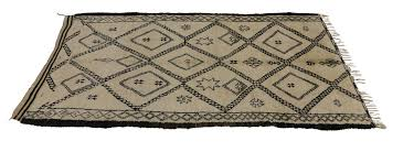 hand knotted mid century modern beni ourain moroccan rug with tribal symbols for