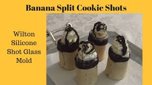 banana split cookie shots with wilton shot glass mold