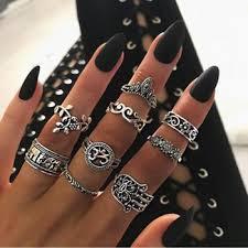 Tocona 9pcs/set Boho Midi Finger Rings Set for Women Punk ...