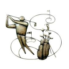 wall metal arts metal tournament golf wall art imagine the golfer yelling fore deftly airbrushed in a warm brown metal wall art decor canada