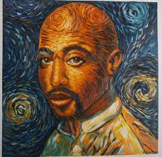 tupac 2pac shakur van gogh style oil painting on canvas made