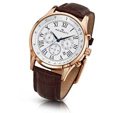 kennett savro rose gold mens watch brown leather strap item image