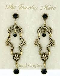 vintage inspired art deco style chandelier earrings jet austrian crystal