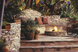 outdoor stone fire pit. Kittredge™ Gas Burning Fire Pit In Use Outdoor Stone H