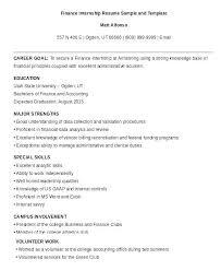 Resume Samples For Internships Sample Resume Internship Sample Resume For Accounting Student Best