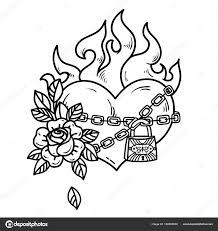 Tetování Hořící Srdce S Růží Tetování Srdce V Pouta Lásky Na Bílém