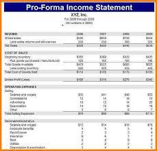 Pro Forma Financial Statements Excel Yupar Magdalene