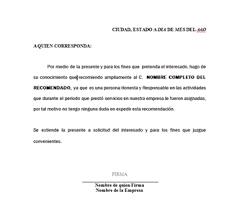 ejemplo de una carta de recomendacion personal descarga de formato recomendacion laboral