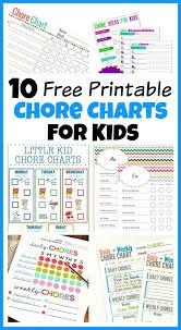 10 Free Printable Chore Charts For Kids Chore Chart Kids