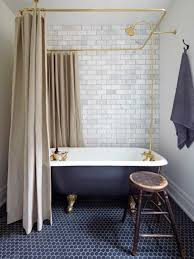 small clawfoot tub. Small Bathroom With Clawfoot Tub Featured Rainfall Shower Head And Curtains L