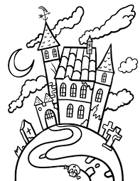Small Picture Free Haunted House Coloring Page