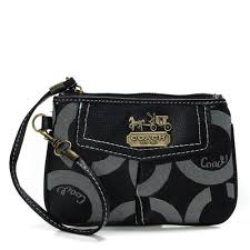Coach Madison In Signature Small Black Wristlets AHX
