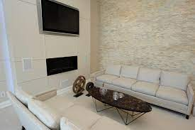 natural stacked stone accent wall