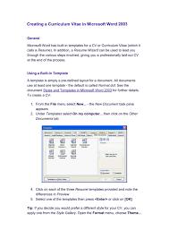 Creating A Curriculum Vitae In Microsoft Word 2003