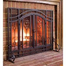 glass fireplace screen. Single Panel Steel Fireplace Screen Glass N