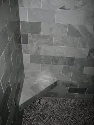 gray slate and pebble shower