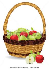 green and red apples in basket. fresh green and red apples in a basket on white background. l
