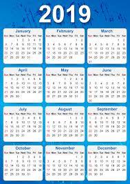 2019 Yearly Calendar Printable Free Calendar Template