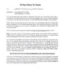 printable sample 30 day notice to vacate template form thirty day notice letter