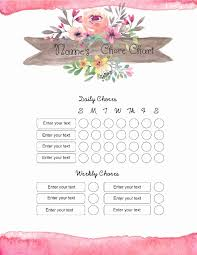 Free Chore Chart Template 101 Different Designs
