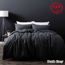 dark grey linen cotton vintage wash quilt doona cover set queen king super king