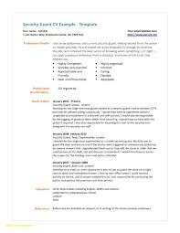 Resume For Security New Resume Security Guard Security Guard Resume