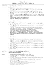 Sales Clerk Resume Samples Velvet Jobs