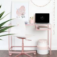 2 give a desk a glam makeover by spraying it rose gold