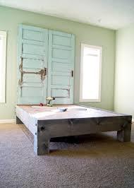 old door furniture ideas. Diy Platform King Size Bed Frame With Old Door Headboard Furniture Ideas
