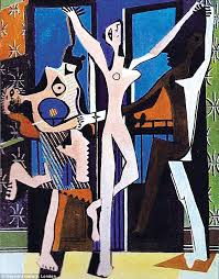 the dark face to the right represents pablo picasso s friend ramon pichot who d