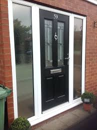 entry door glass trim composite door with glass side panels white frame in black with chrome