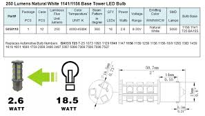 Automotive Bulb Chart Pdf Green Longlife 5050119 1141 1156 Ba15s Base Tower Rv Led Light Bulb Natural White 2 6 Watts 8 30 Volts