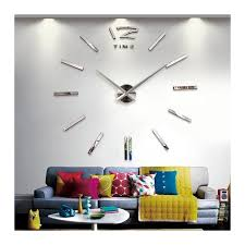 luxury large wall clock home office diy 3d home decor decal mirror silver