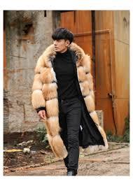 luxury men winter 100cm long real red silver fox fur coat full pelt thick jacket