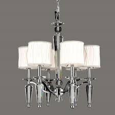gatsby collection 6 light chrome finish and clear crystal chandelier with white fabric shade 22 d