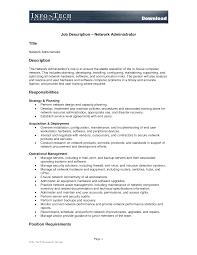 It Job Description Network Administrator Jobescription Template Templatesata Center And 21