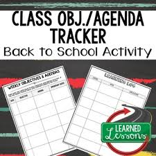Class Agendas Back To School Class Objective And Agenda Recorder And Learning Log