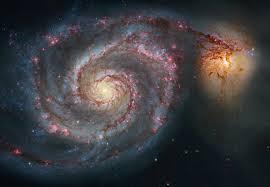 Bei der Galaxie M 51 sieht man