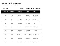 Jeans Conversion Chart Australia Bardot Womens Size Guide Bardot