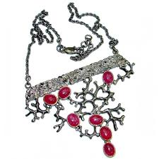 authentic ruby 18k rose gold rhodium over 925 sterling silver handmade statement necklace
