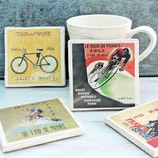 set of four ceramic tour de france cycling coasters tableware