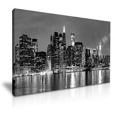 image is loading new york city skyline canvas wall art picture  on new york city skyline canvas wall art with new york city skyline canvas wall art picture print 76x50cm black