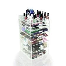 houseables acrylic makeup organizer 7 drawers 11x11x19 5 clear cube case