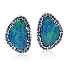 australian opal stud earrings 18k white gold silver pave diamond fashion jewelry