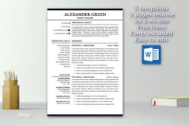 Resume Template 1 2 Pages Cover Letter Template Modern